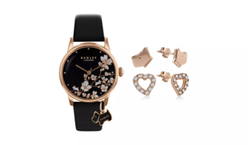 50% Off Radley Ladies Black Leather Strap Watch & Earrings Gift Set