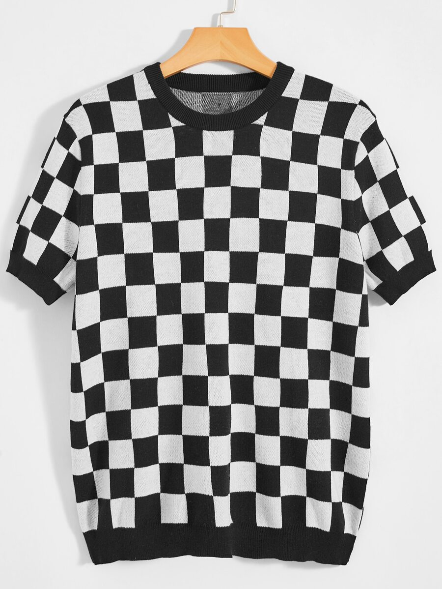 45% Off Men Checked Knit Top