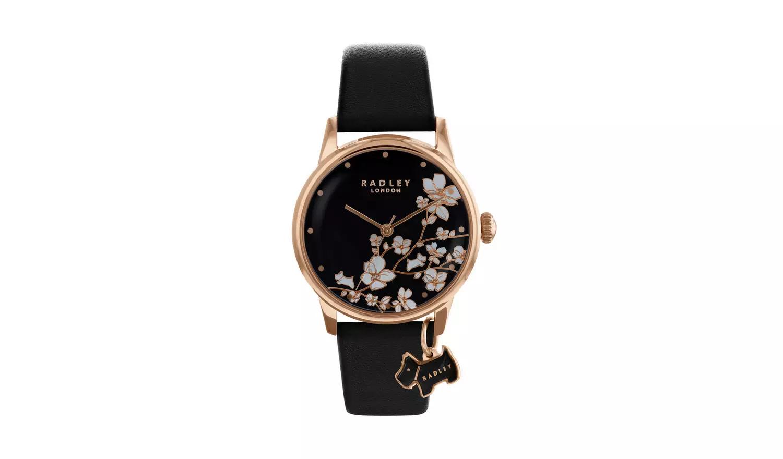 50% Off Radley Ladies Black Leather Strap Watch & Earrings Gift Set