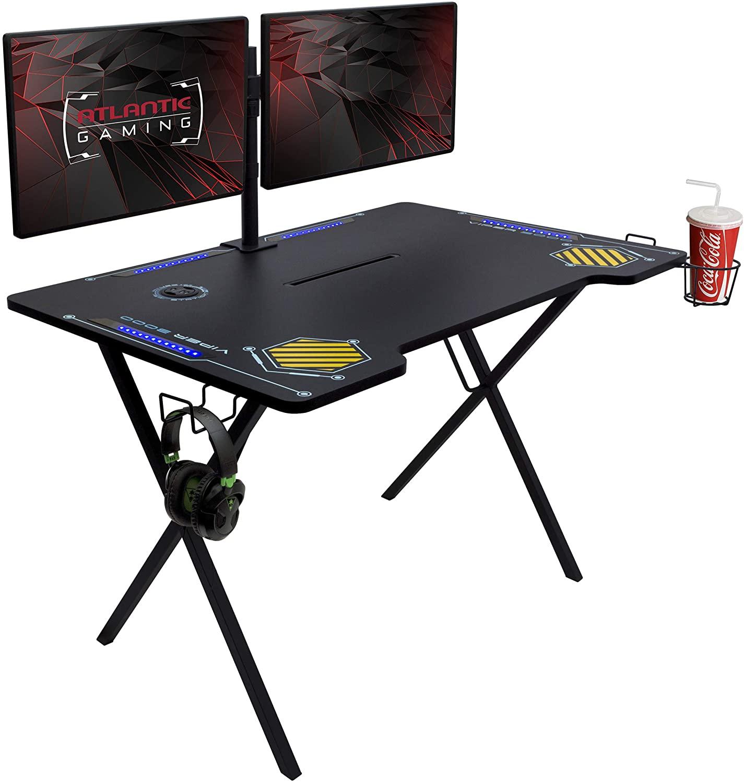 49% Off Atlantic Gaming Desk Viper 3000-45+ inches Wide, LED Illumination, Three USB 3.0 Ports
