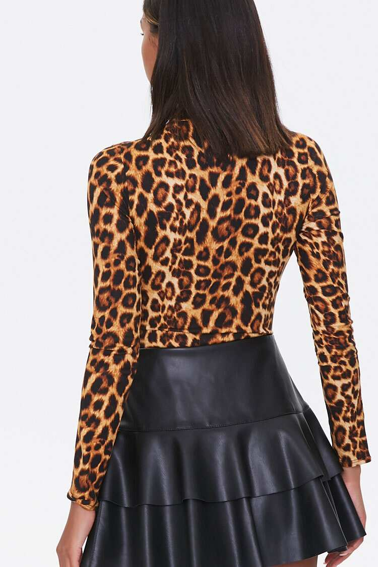 34% Off Leopard Print Bodysuit long sleeve