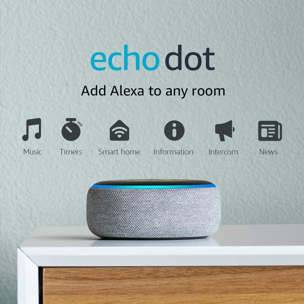 62% Off Echo Dot-Smart speaker with Alexa - Heather Gray